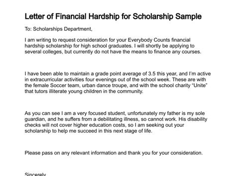 letter for scholarship financial need sle letter explaining financial hardship sle