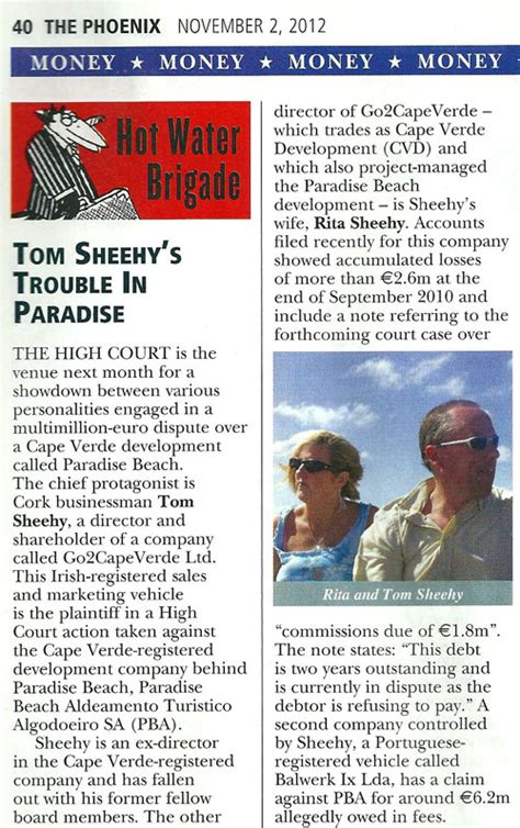 Tom Trouble In Paradise by Tom Sheehy Magazine November 2012