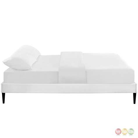 Platform Bed Frame White Sherry Upholstered Vinyl Leather Platform Bed Frame White