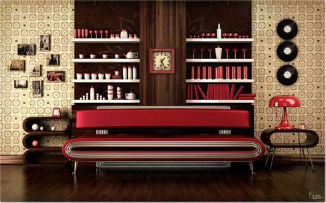 retro livingroom retro living room wallpaper