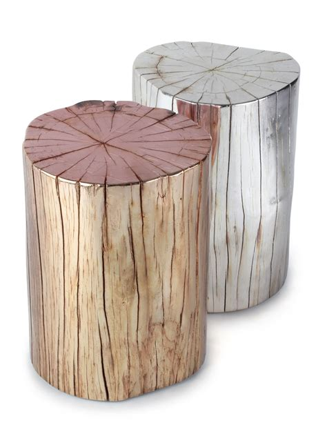 tree stump side table metallic tree stump side table boho home