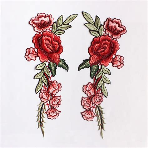 floral applique a pair embroidered flower applique patchvintage floral