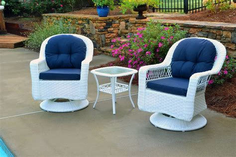 white wicker bistro chairs 3 pc biloxi bistro swivel chairs set in white wicker w