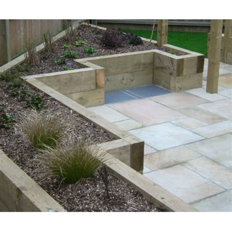 Raised Beds Sleepers by High Quality New 2 4m Talialised Railway Sleepers Raised Planter Bed Ebay