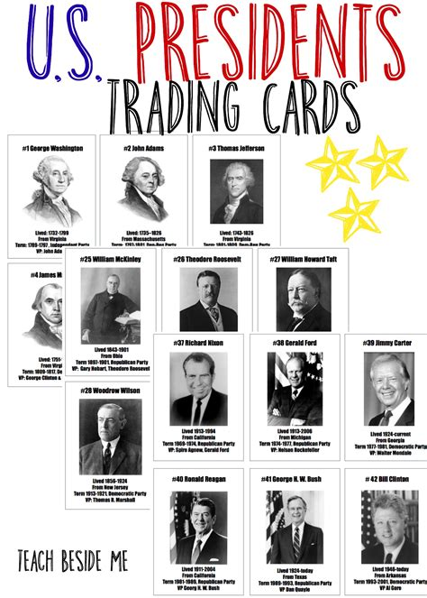 presidential trading card template president trading cards