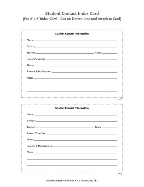 information cards template best photos of student information card template