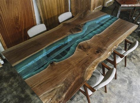 granite table custom made for sale blue pearl granito sale bookmatched walnut with blue glass river live edge
