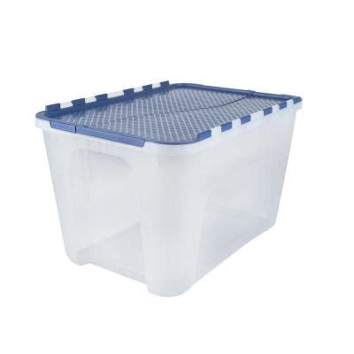 home design products 12 gallon flip top tote hdx 12 gal flip top storage tote 4 pack 17200161 the