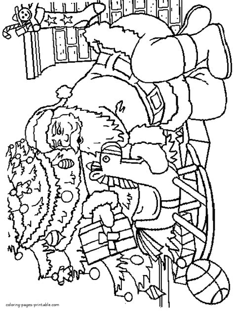 christmas coloring pages santa and tree santa brought presents coloring pages