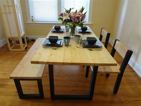 steel and 2x4 dining table set 8
