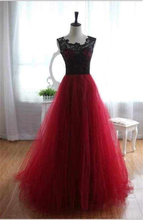 Handmade Gowns - pretty handmade tulle and lace burgundy prom dresses 2016