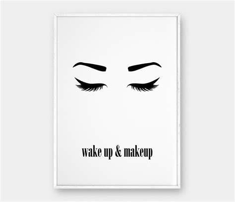 makeup wall art printable wake up and makeup wall art printable poster beauty poster