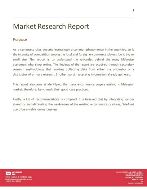 marketing research report sle marketing research sle report 28 images e commerce