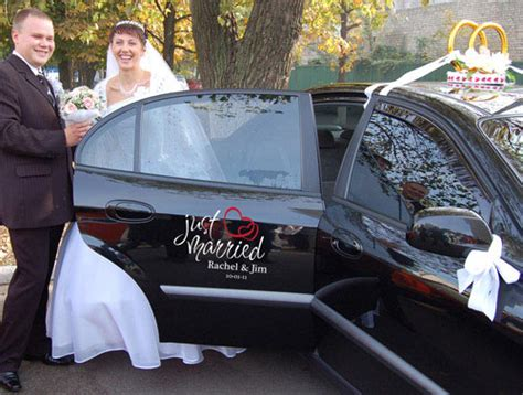 Wedding Car Stickers by Wedding Just Married Vinyl Car Decal Personalized Sticker
