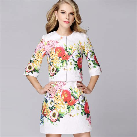 Hq 14819 Set Top Skirt high quality new fashion 2017 runway suit set s vintage floral printed jacquard jacket