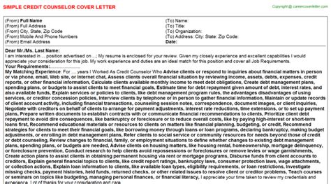 Credit Counselor Cover Letter by Credit Counselor Cover Letters
