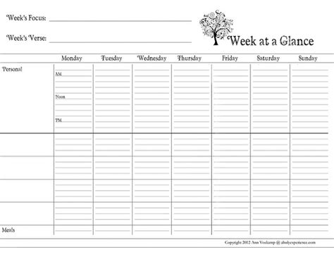 week at a glance template 6 best images of day at a glance printable day at a
