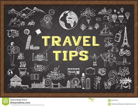 doodle 4 tips doodle about travel tips on chalkboard stock vector