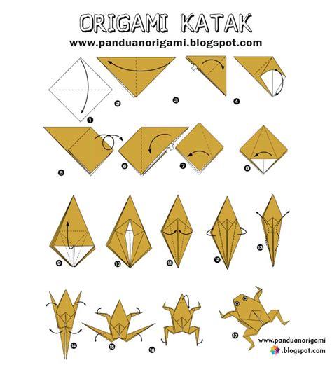 Katak Origami - panduan membuat origami katak lucu panduan belajar