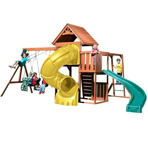 swing n slide playset shop swing n slide grandview twist complete wood playset