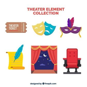 design elements definition theatre flat theater background with red curtains vector free