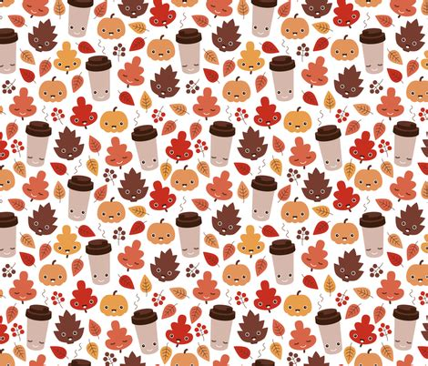 leaf pattern latte kawaii autumn leaves and pumpkin spice latte love