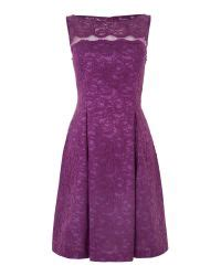 js collections boat neck soutache illusion crepe dress js collections illusion lace prom dress in purple lyst