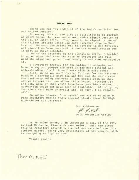 Cross Promotion Letter Valiant Archive