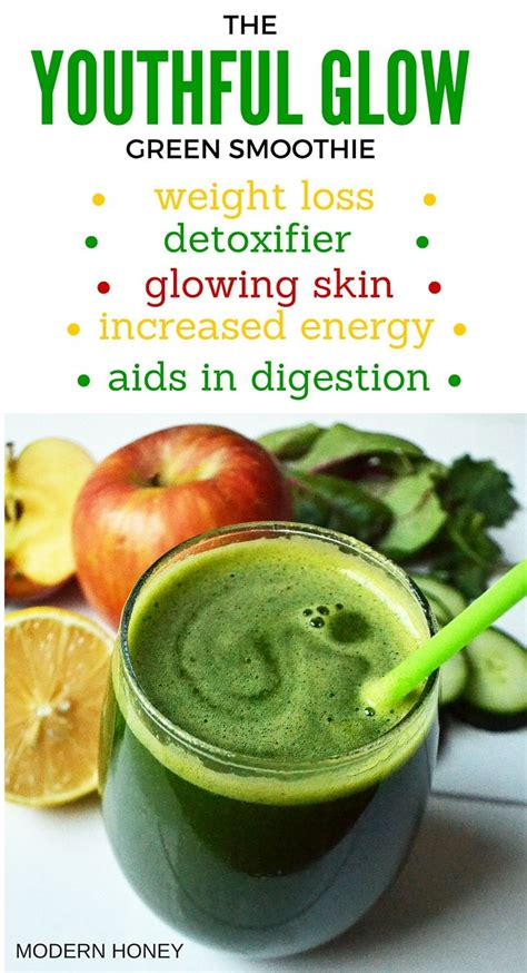 Smoothie Detox Diet Results by Youthful Glow Green Smoothie By Modern Honey Is Packed
