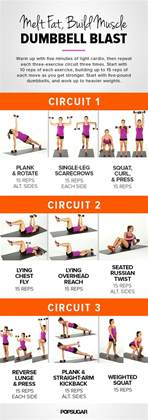 printable workout dumbbell circuit popsugar