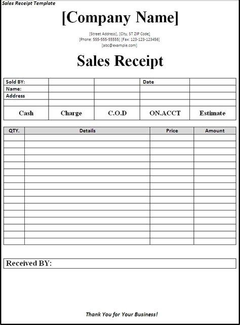 Free Sales Receipt Template Word by Template For Sales Receipt 28 Images 7 Free Sales