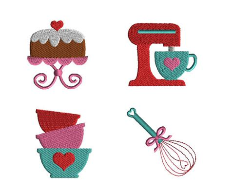 free kitchen embroidery designs mini kitchen machine embroidery design set instant download
