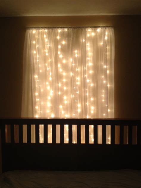 string lights behind sheer curtain lights behind bed bedrooms pinterest curtains
