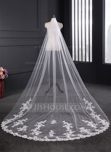 Wedding Veil one tier lace applique edge cathedral bridal veils with