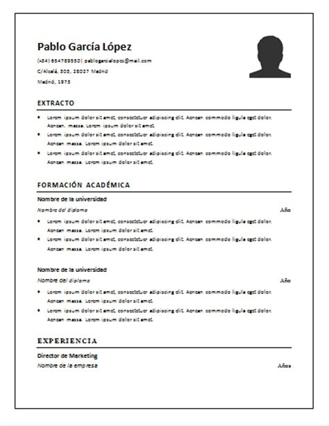 Plantilla De Un Curriculum Vitae Simple Curriculum Vitae Sencillo Y Simple Ejemplos Para Descargar