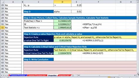 hypothesis testing excel template how to find two tailed p value in excel bob gardner s