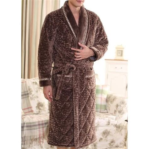 robe de chambre matelass馥 peignoir homme matelass 233 marron fonc 233 motifs lepeignoir fr