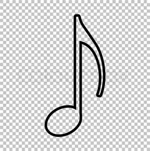 music note sign line icon on transparent background