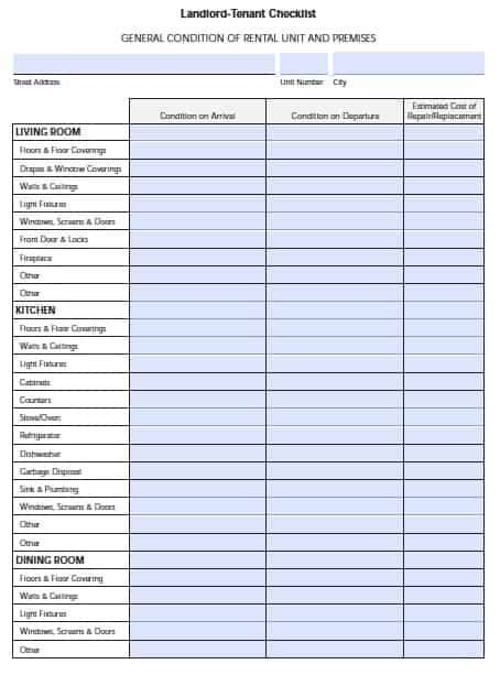 Free Florida Landlord Tenant Move In Checklist Pdf Template