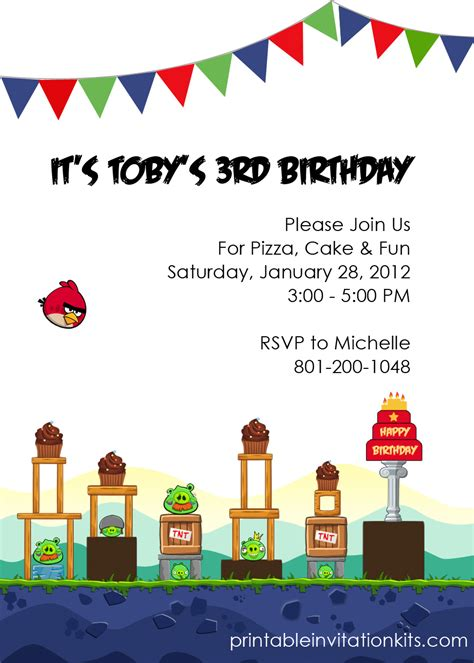 angry birds birthday invitation wedding invitation