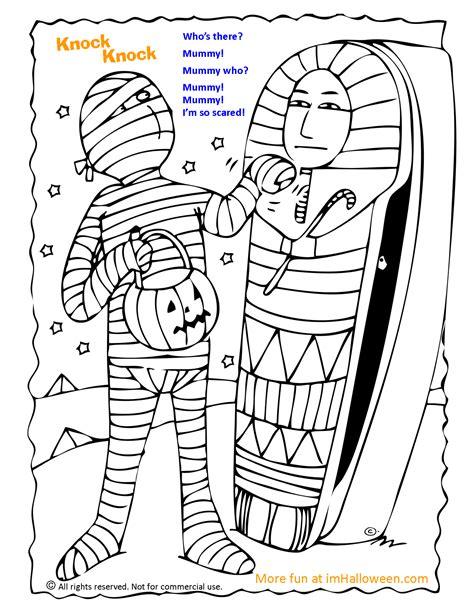 printable halloween knock knock jokes mummy knock knock joke coloring page gt more fun halloween
