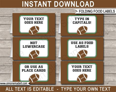food place cards template football food labels place cards editable