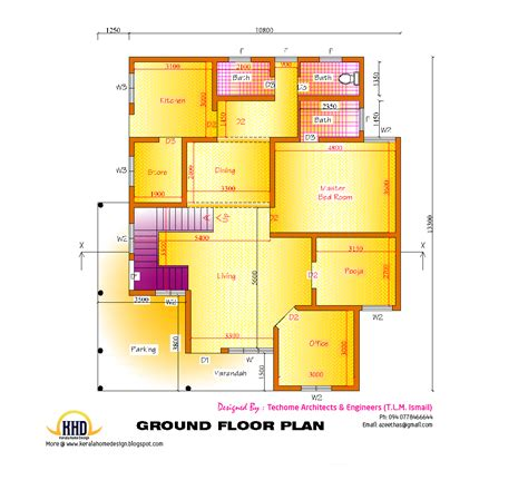 ground floor plan 2d elevation and floor plan of 2633 sq feet kerala house
