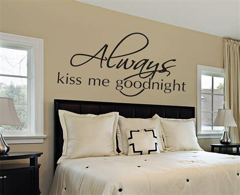 wall hangings for bedrooms always kiss me goodnight wall decal bedroom wall decals master bedroom decor wall decals by