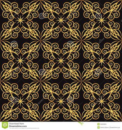 pattern black gold gold pattern stock vector illustration of drawing