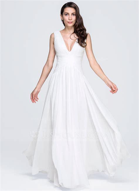 A Line/Princess V neck Floor Length Chiffon Evening Dress