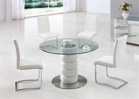 glass table and chairs lugano glass leather dining room table and 4 chairs set