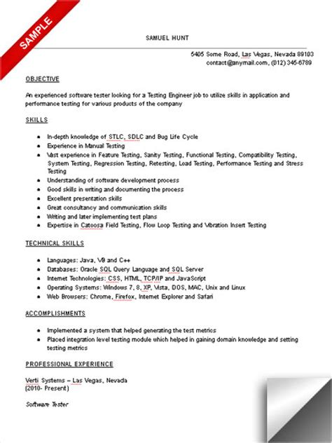resume format for software tester test engineer resume sle limeresumes