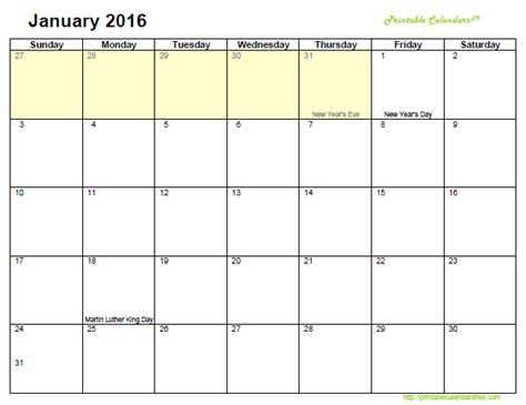 printable monthly calendar january 2016 7 best images of free january printable calendars com 2016