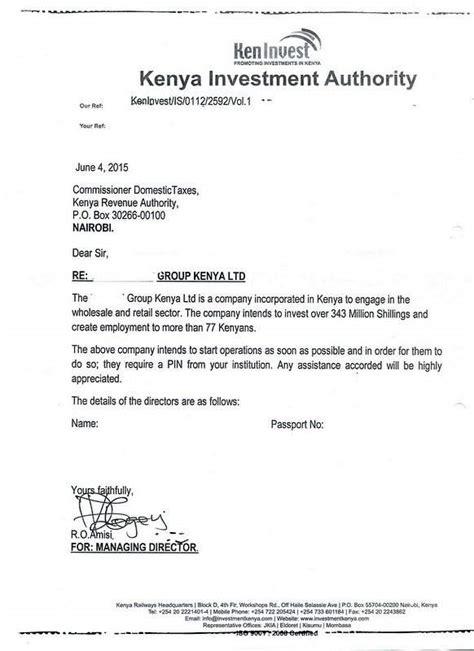 Company Endorsement Letter For Visa Eregulations Kenya